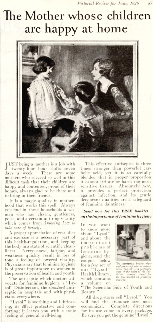 By Lysol company (Pictorial Review for June, 1926[1]) [Public domain], via Wikimedia Commons