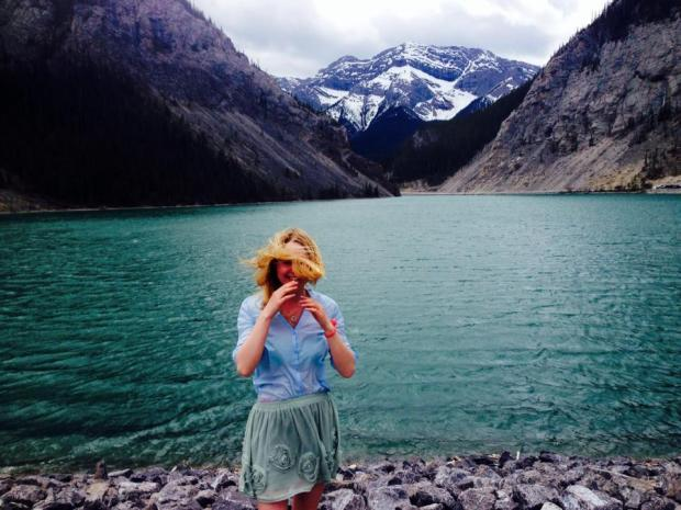 Canmore with during June Dresses 2014. 10/10 do not recommend hiking in a skirt and blouse.